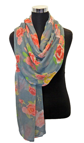 Gray Blue Rose Garden Hijab Scarf