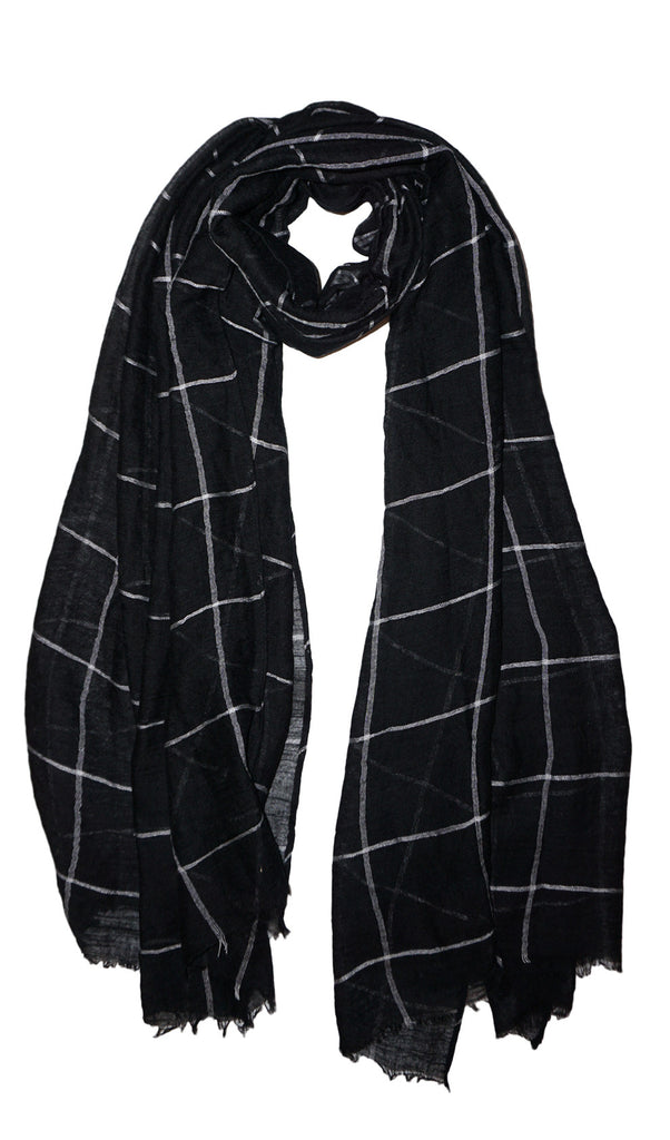 Grid Print Hijab Scarf Black Hijabs For Sale At