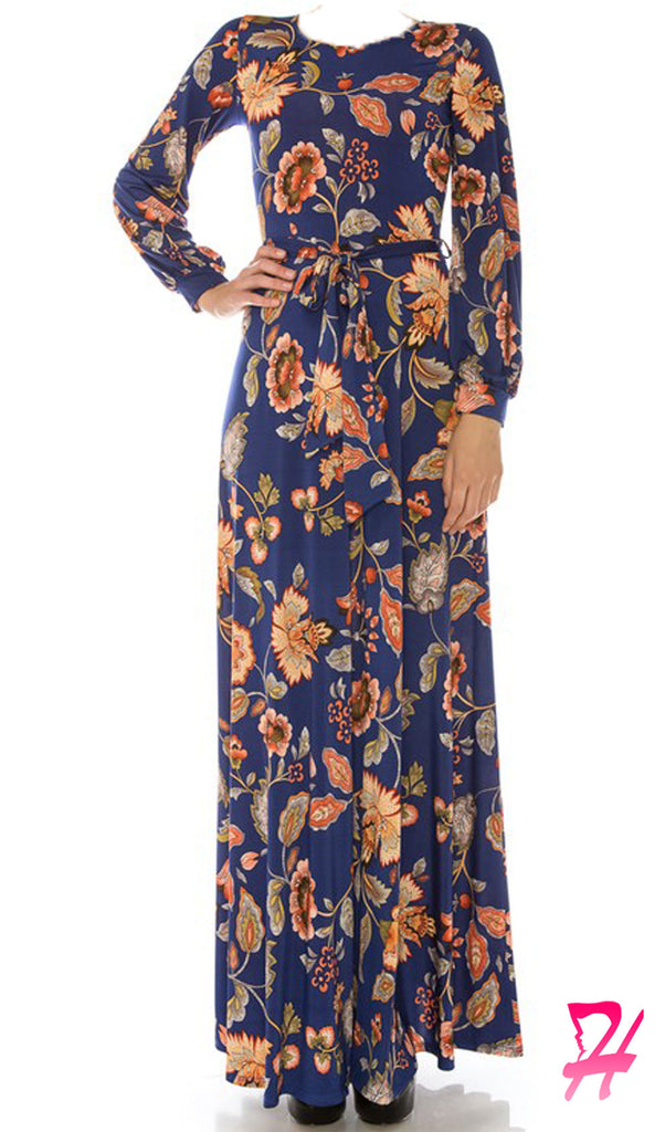 Haniya Floral Long Sleeve Maxi Dress - Blue
