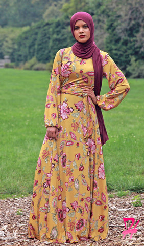 Haniya Floral Long Sleeve Maxi Dress - Mustard