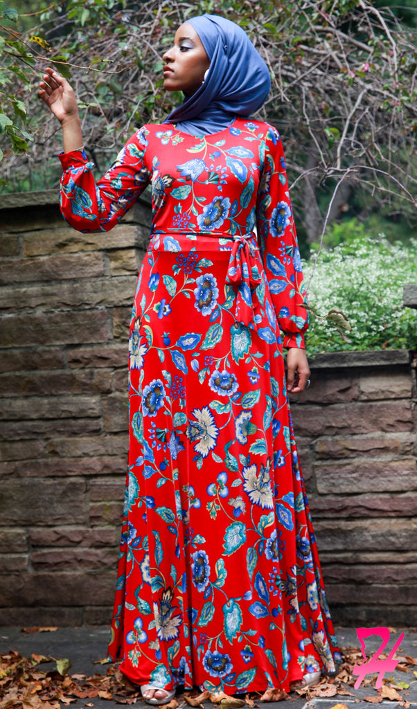 Haniya Floral Long Sleeve Maxi Dress - Red