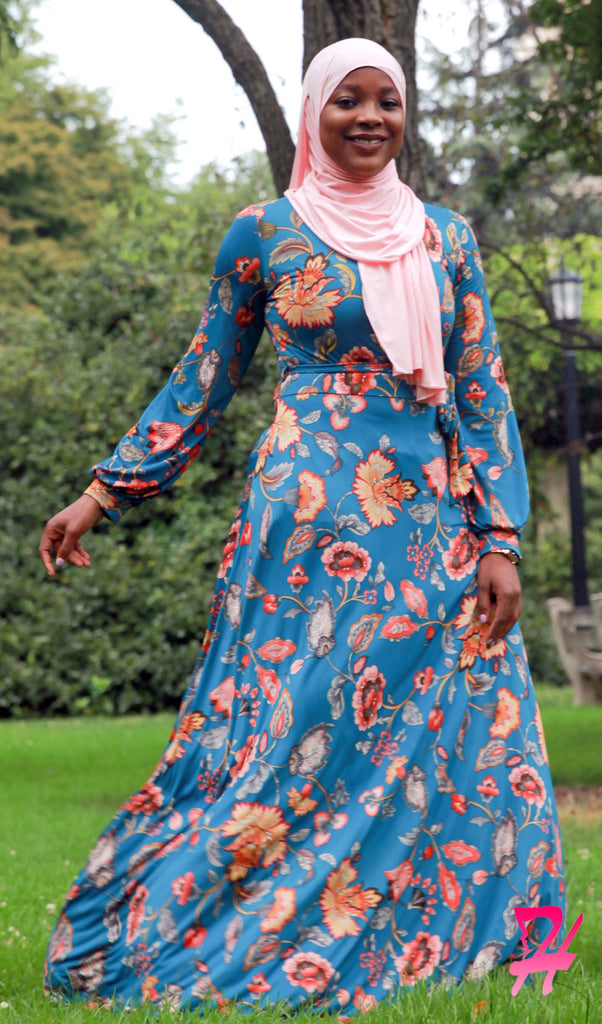 Haniya Floral Long Sleeve Maxi Dress - Teal