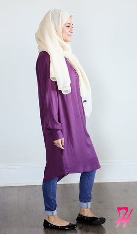 Hannah Long Sleeve Shirt Dress - Purple