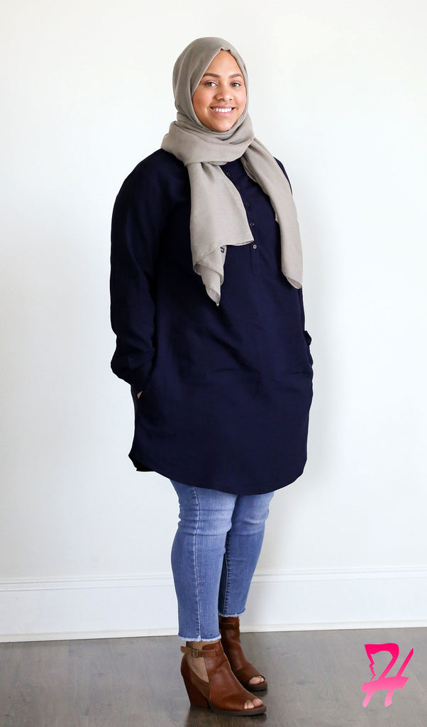 Hannah Long Sleeve Shirt Dress - Navy