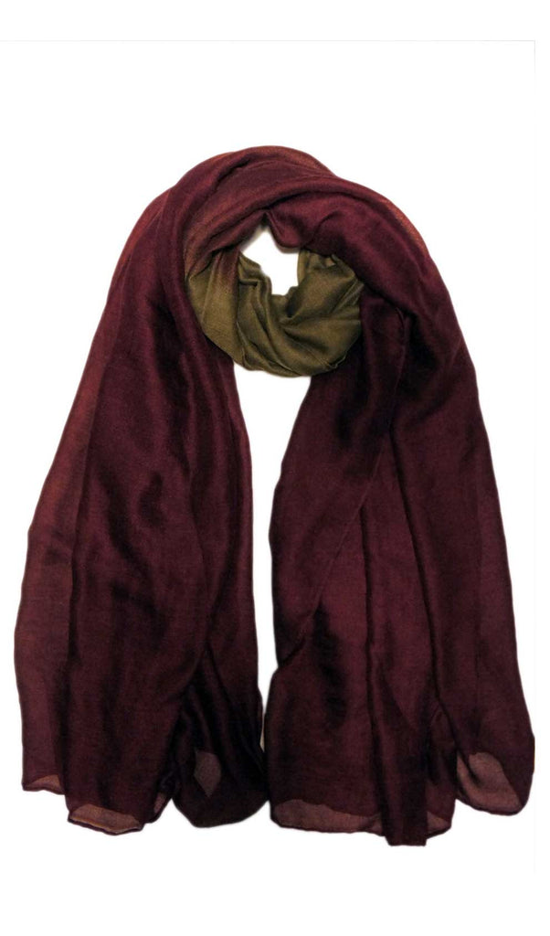 Khaki and Burgundy Ombre Hijab Scarf