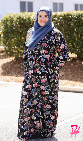 Maimuna Button Down Long Sleeve Maxi Dress - Floral
