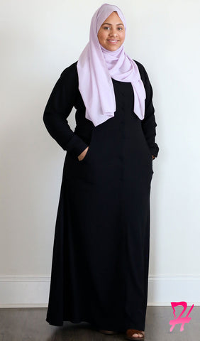 Maimuna Button Down Long Sleeve Maxi Dress - Black