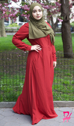 Maimuna Button Down Long Sleeve Maxi Dress - Burgundy