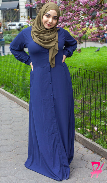 Maimuna Button Down Long Sleeve Maxi Dress - Navy