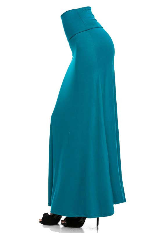 Teal Maxi Skirt Side