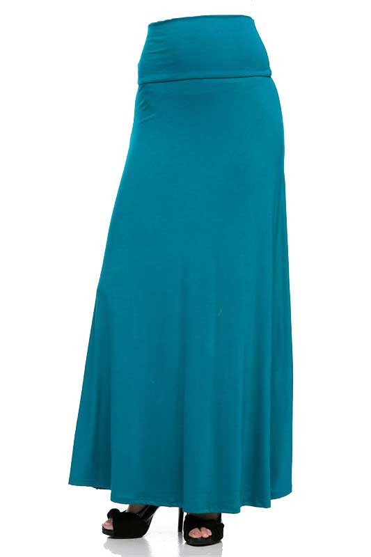 Teal Maxi Skirt Front
