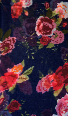 Midnight Blue Rose Garden Hijab Scarf Print