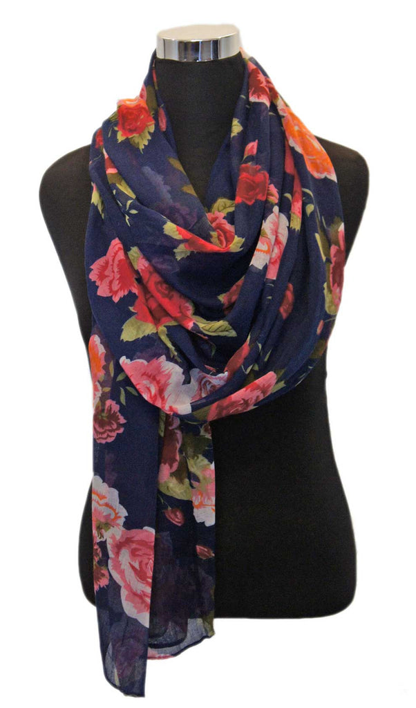 Midnight Blue Rose Garden Hijab Scarf