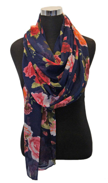 Rose Garden Hijab Scarf - Midnight Blue