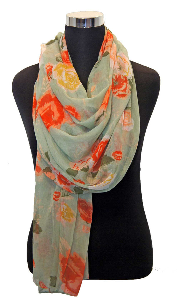 Mint Rose Garden Hijab Scarf