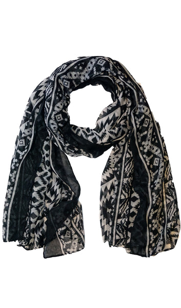 Native Southwest Print Hijab Scarf - Black