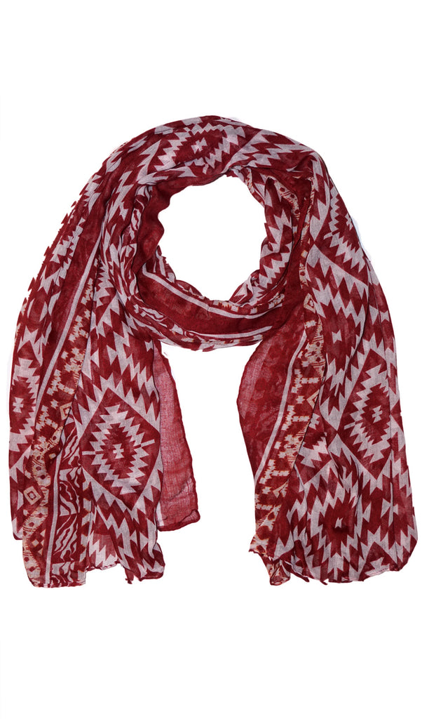 Native Southwest Print Hijab Scarf - Burgundy