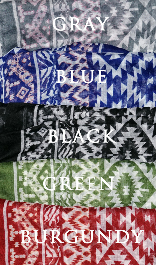 Native Southwest Print Hijab Scarf - Available Colors