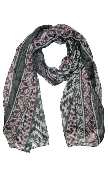 Native Southwest Print Hijab Scarf - Gray