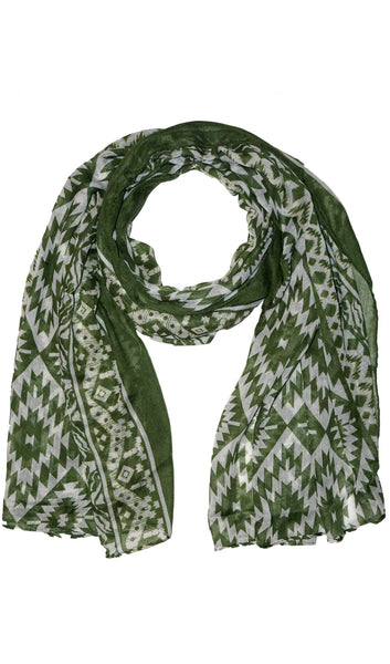 Native Southwest Print Hijab Scarf - Green
