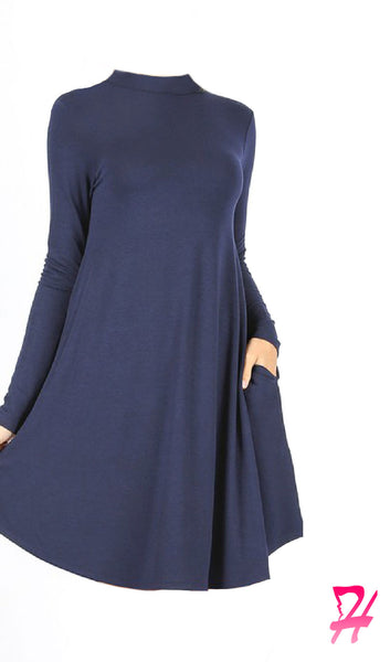 Mock Neck Long Sleeve Dress with Pockets - Navy