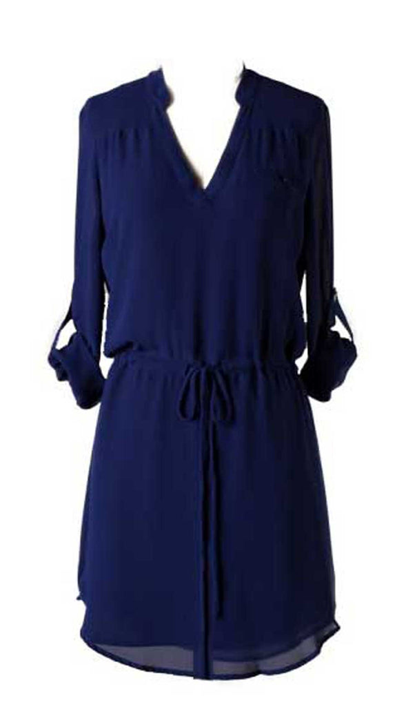 Navy Blue Long Sleeve Tie Waist Shirt Dress