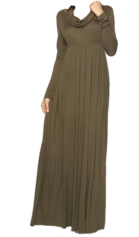 Cowl Neck Long Sleeve Maxi Dress - Olive