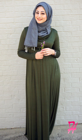 Long Sleeve Cowl Neck Maxi Dress - Olive