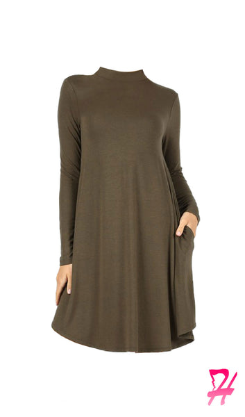 Mock Neck Long Sleeve Dress with Pockets - Olive