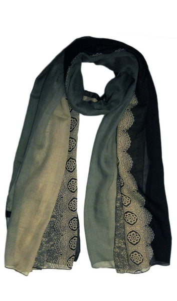 Ombre Lace Print Scarf Hijab- Black