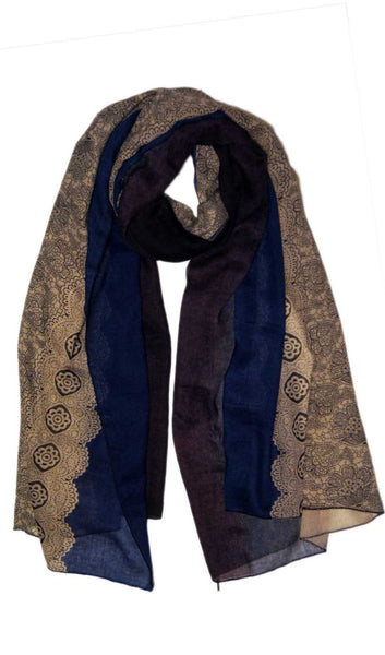 Ombre Lace Print Scarf Hijab - Blue