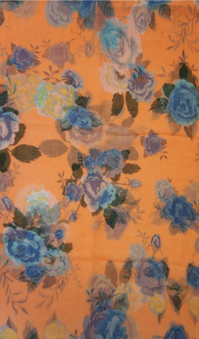 Orange Cream Rose Garden Hijab Scarf Print