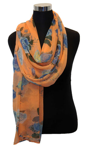 Orange Cream Rose Garden Hijab Scarf