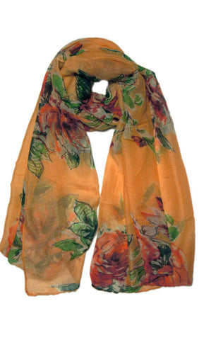 Peach Floral Blooms Hijab Scarf