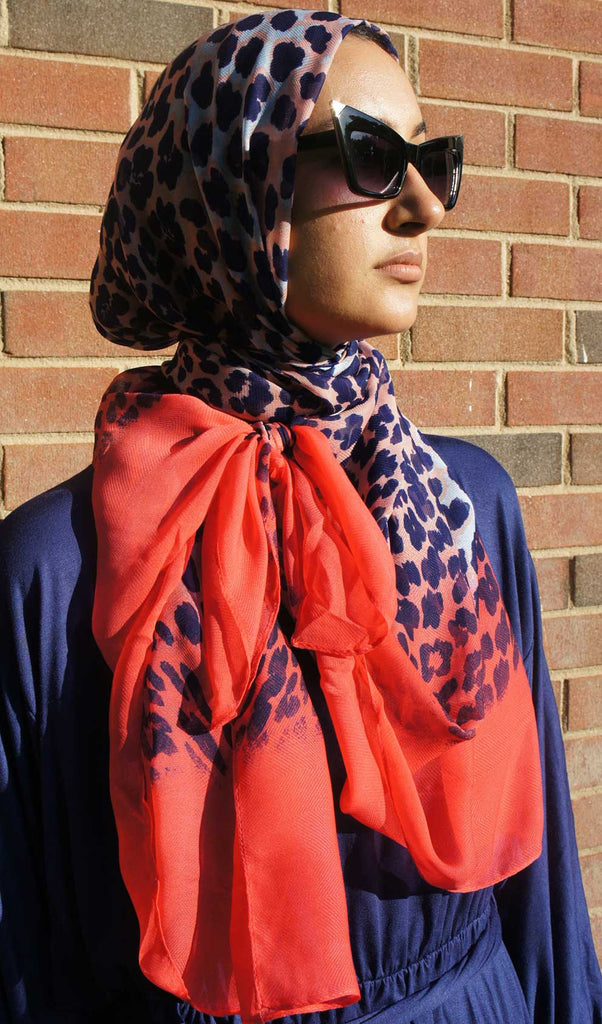 Pink & Blue Ombre Panther Hijab Scarf Model