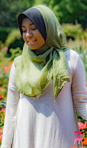Plain Viscose Maxi Hijab - Earth Green