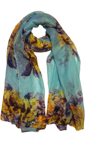Floral Blooms Hijab Scarf - Turquoise