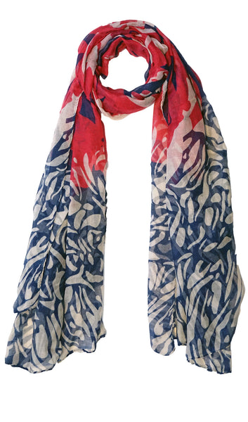 Whimsical Rose Maxi Hijab Scarf - Navy & Red
