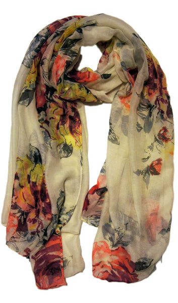 Floral Blooms Hijab Scarf - White