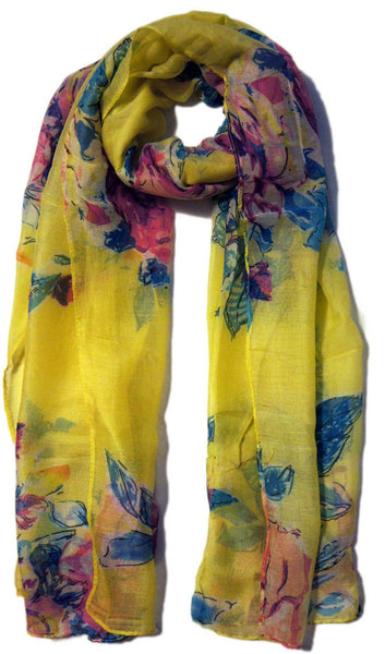 Floral Blooms Hijab Scarf - Yellow