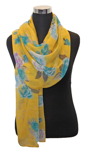 Rose Garden Hijab Scarf - Yellow