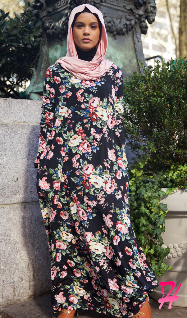 ae217fd7d A-Line Long Sleeve Maxi Dress with Pockets - Black Floral