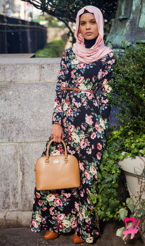 A-Line Long Sleeve Maxi Dress with Pockets - Black Floral