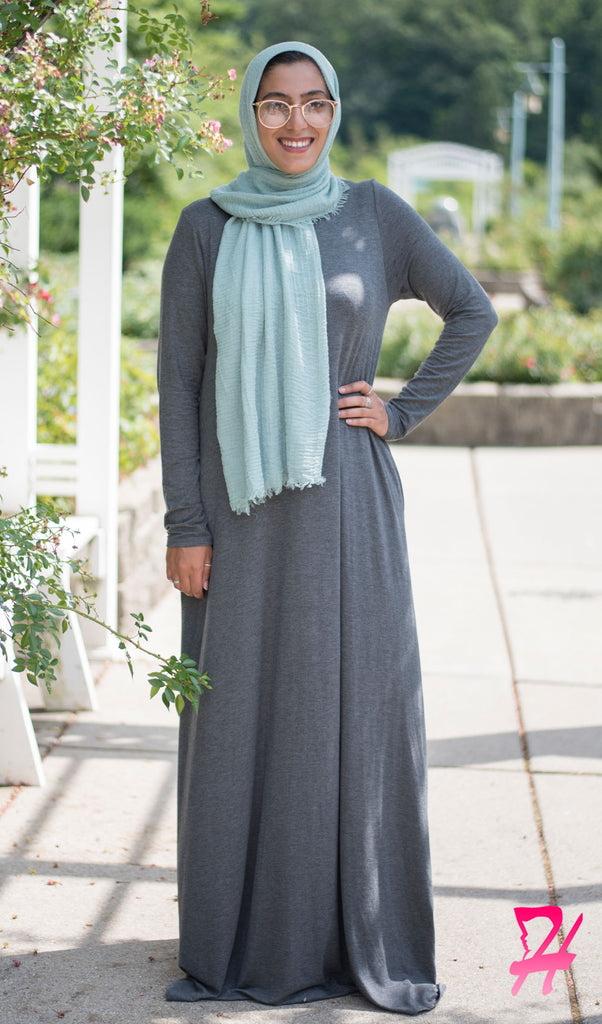 A-Line Long Sleeve Maxi Dress with Pockets - Charcoal