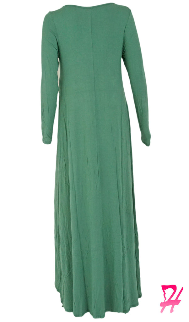 A-Line Long Sleeve Maxi Dress with Pockets - Dusty Green
