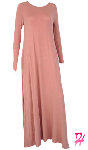 A-Line Long Sleeve Maxi Dress with Pockets - Dusty Pink