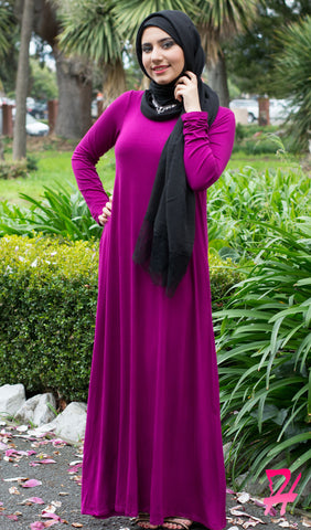 A-Line Long Sleeve Maxi Dress with Pockets - Berry