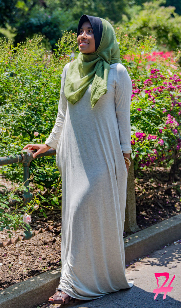 A-Line Long Sleeve Maxi Dress with Pockets - Oatmeal