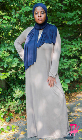 A-Line Long Sleeve Maxi Dress with Pockets - Canvas
