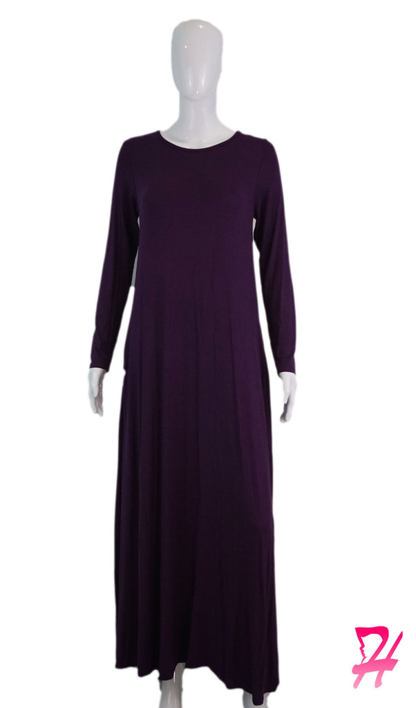Long Sleeve A-Line Maxi Dress with Pockets - Eggplant